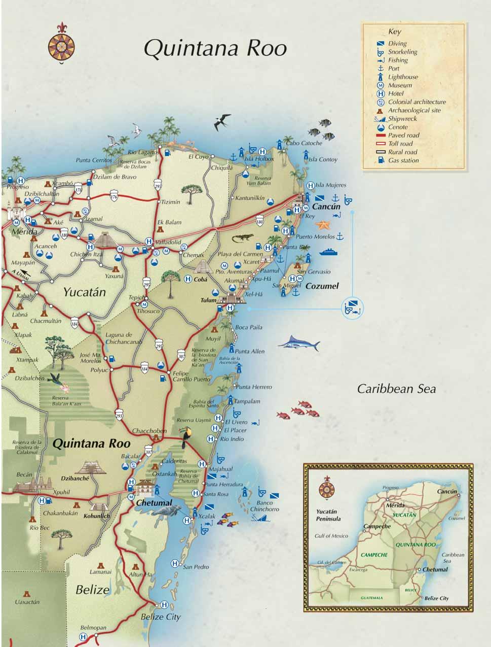 MAPA TURSTICO COMPLETO DE QUINTANA ROO y Este de Yucatn