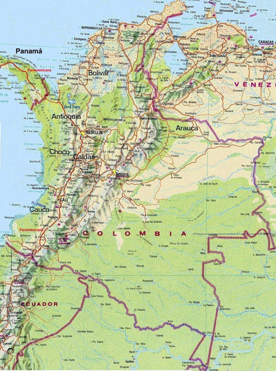 Mapa Físico y Político de Colombia