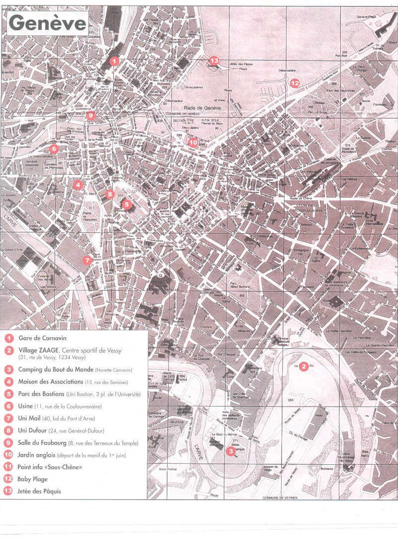 Informations And Tools For Activists Against Evian G Summit - Lausanne city map